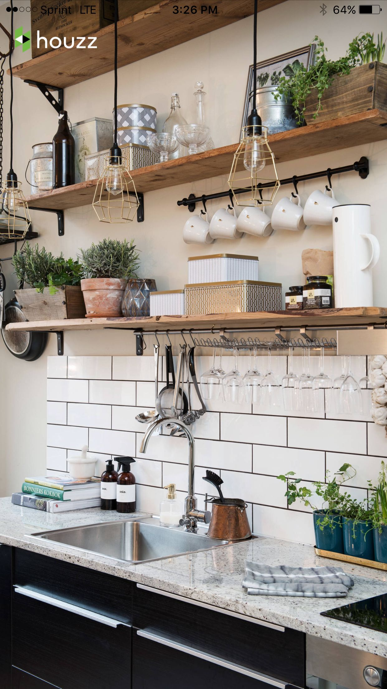 Classic kitchen: White subway tile, dark grout, open wood shelves ...