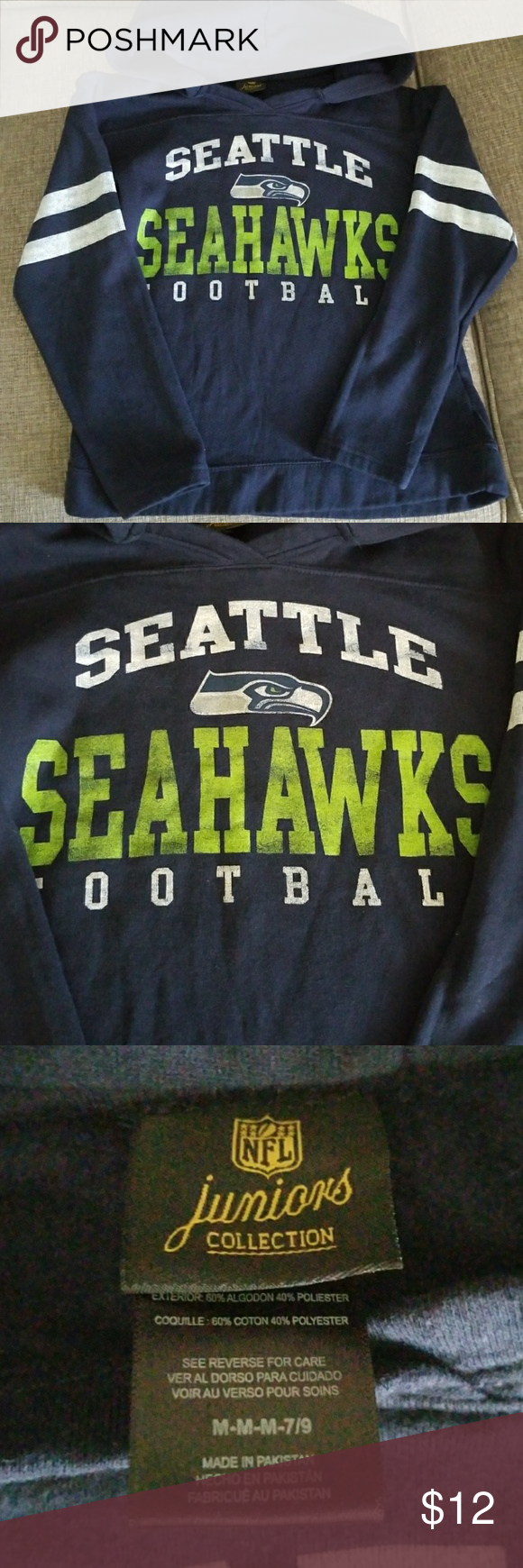 Juniors girl NFL collection Seahawks hoodie. Junior size M. Women s small.  Great condition 48e901275