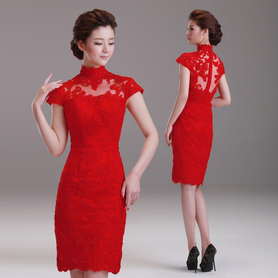 Astounding Dora 2013 Bag Turtleneck Lace Red The Bride Wedding Dress Short Hairstyles For Black Women Fulllsitofus