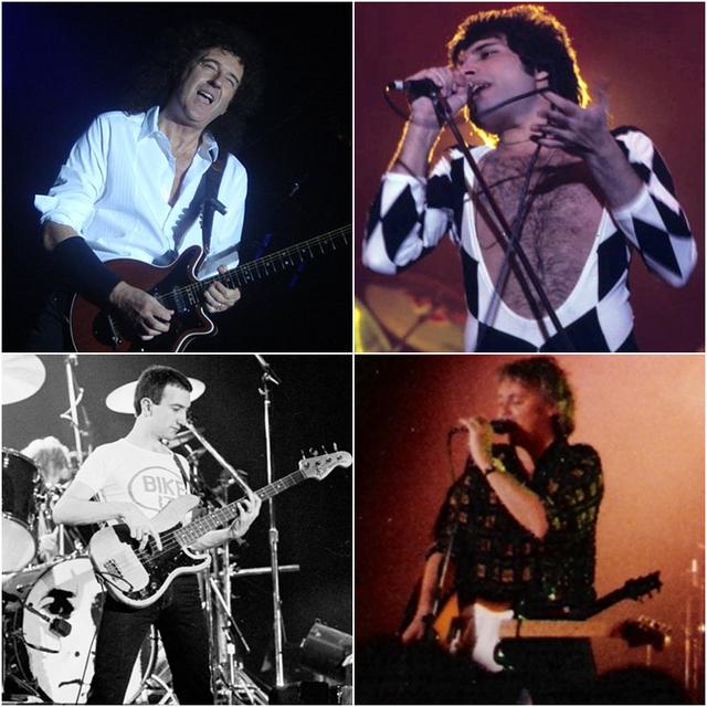 * Queen * Brian May e Freddie Mercury (acima); John Deacon e Roger Taylor (abaixo).