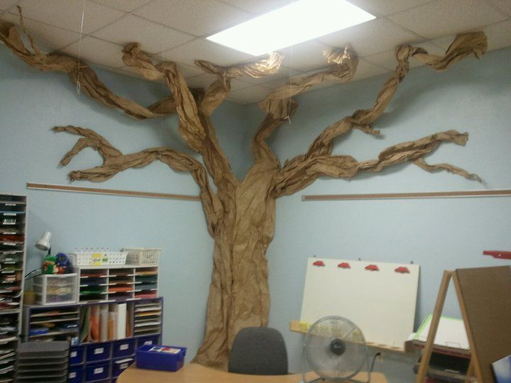 Image result for how to make a paper tree for classroom for Apple tree classroom decoration