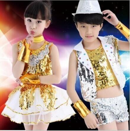4bd22962bf71e Nuevo 2016 Kids Jazz danza Traje de Niño niño Ropa de Lentejuelas Hip Hop Trajes  de Baile de Jazz Moderno Traje de la Danza Sexy Vestido Para niñas en Salón  ...