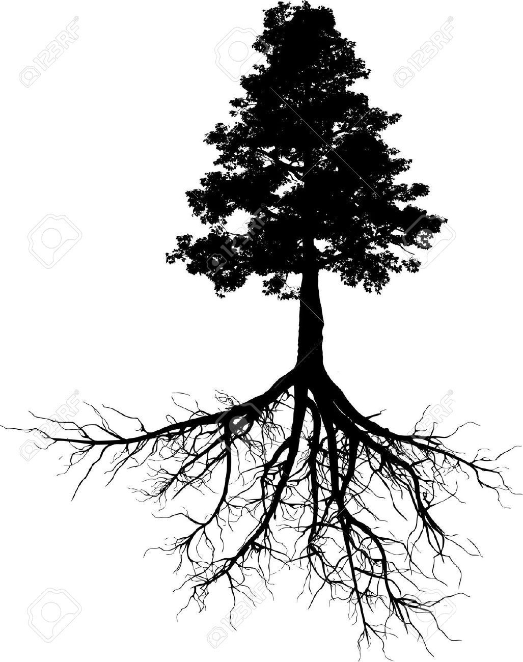 Tree Outline With Roots Google Search Tattoo Tatuaje Arbol
