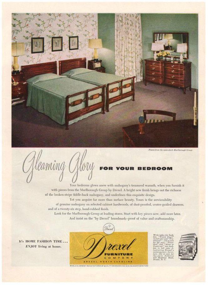 Vintage 1949 Drexel Furniture Magazine Print Ad Bedroom Dresser Beds Advertising