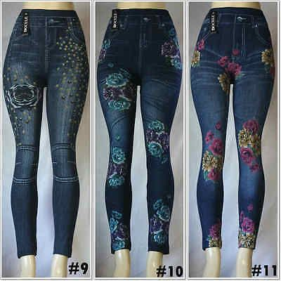 Jeans Look Printed Stretchy Pants Fashion Women/'s Jeggings Leggings