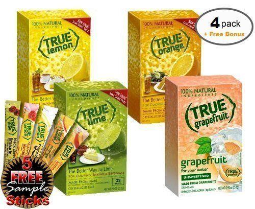 True Lemon Lime Orange Grapefruit 32ct 4bx 32ct Each Plus Free Sample Packs Of True Lemon Original Lemonade Mango Orange Peach Lemonade Black Cherry Li In 2020 True Lemon Peach