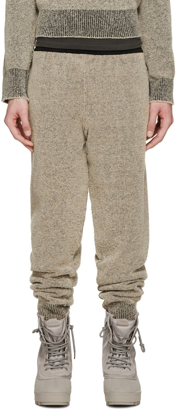 574a0bd40b7dc YEEZY Season 1 Brown Bouclé Knit Lounge Pants