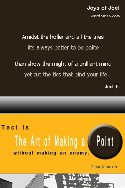 pointless, poem about tact ,diplomacy, joys of joel poems