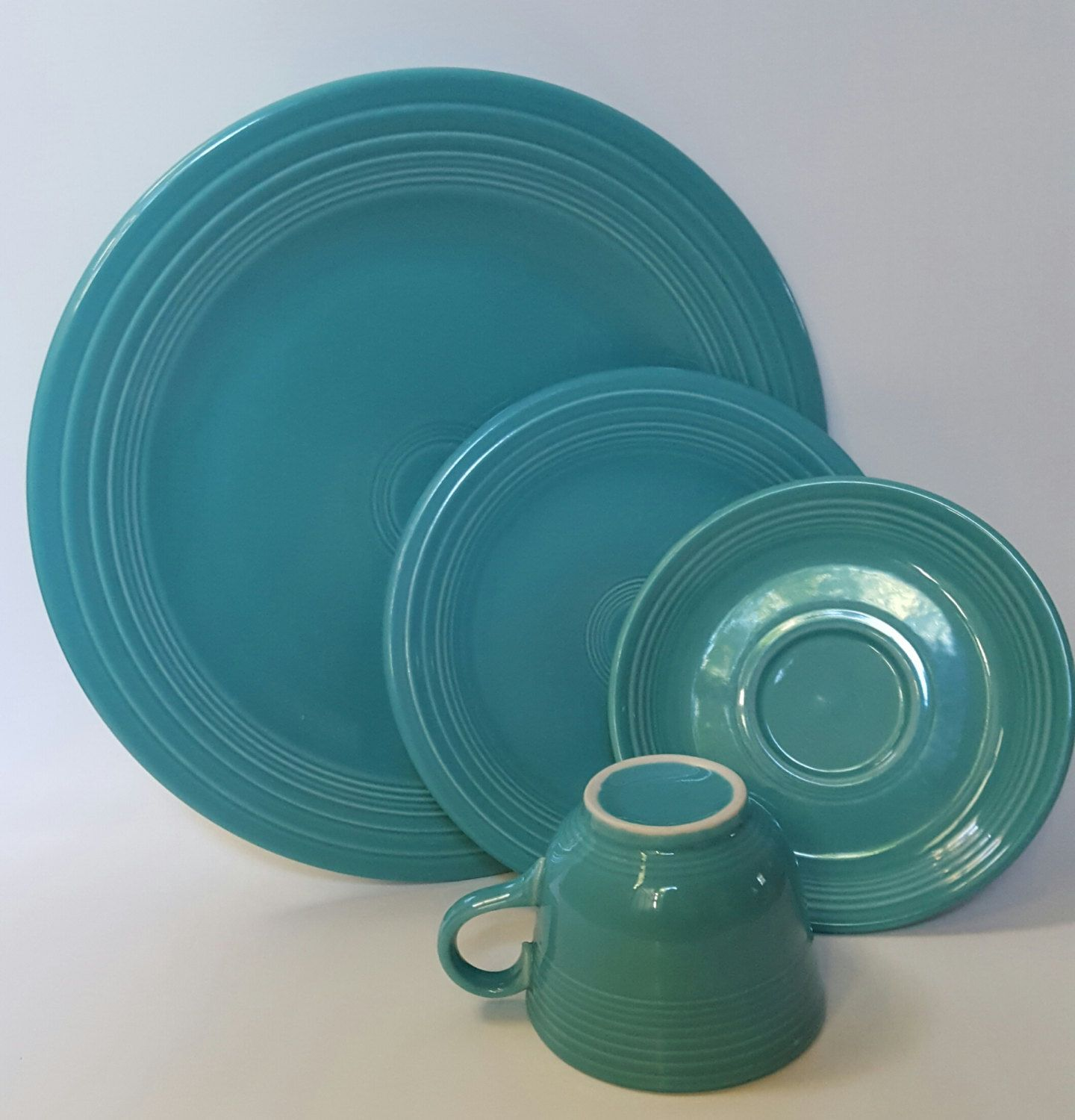 Vintage Fiesta Place Setting Turquoise Fiestaware Dinner Set Homer Laughlin Dinnerware 4 Piece Set by VtgTreasureTroves on Etsy & Vintage Fiesta 4pc Place Setting Turquoise Fiestaware Dinner Set ...