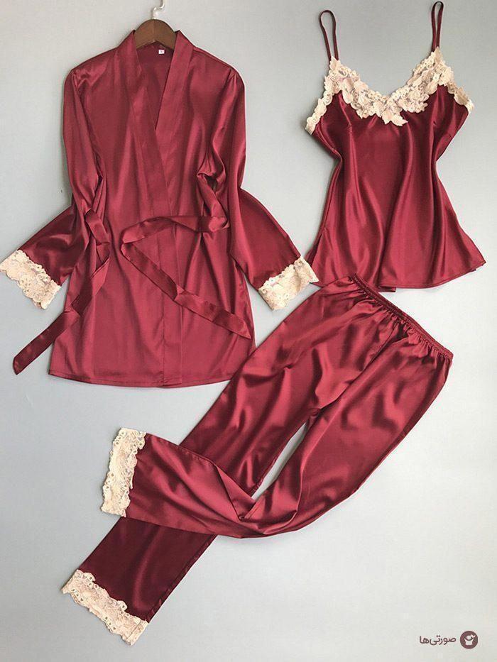 Luxery Lace Women Silk Pajamas Robe Top Pants 3pc Set Q15 Pickingoutsilkboxershorts Silk Pajamas Women Silk Pajamas Silk Pajama Set