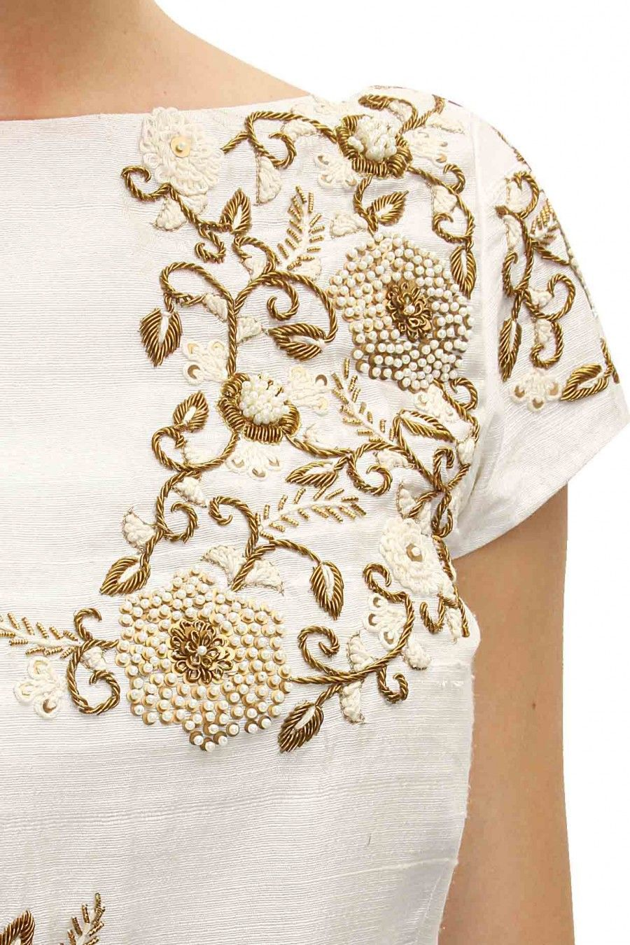 Ivory floral embroidered drape kurta set available only at perniaus