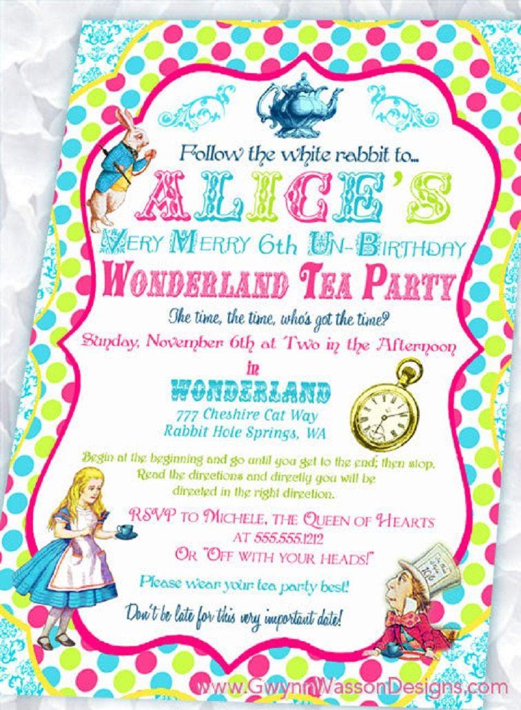 Alice In Wonderland Birthday Invitations Templates Free Party