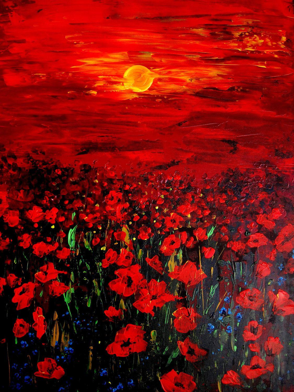 Canvas Print Of Original Oil Painting Poppy Field Sunset