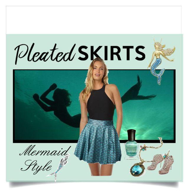 """Pleated Skirt - Mermaid Style"" by fernshadowstudio-com ❤ liked on Polyvore featuring MINKPINK, Sweet Romance, Sergio Rossi, Deborah Lippmann, Bling Jewelry and pleatedskirts"