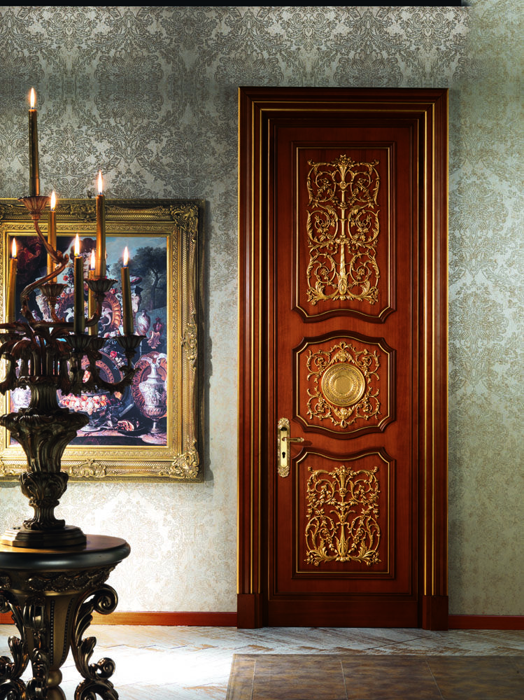 Imperial Collection Finish Briarwood With Gold Hand Painted Materials Wood Classic Doors Wooden Doors Door Design