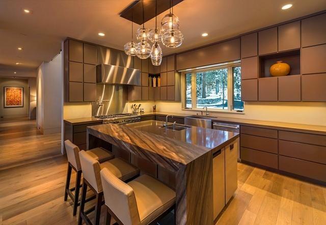 luminaire intrieur suspensions pour la cuisine moderne avec lot central et tabourets de bar - Luminaire Pour Cuisine Moderne