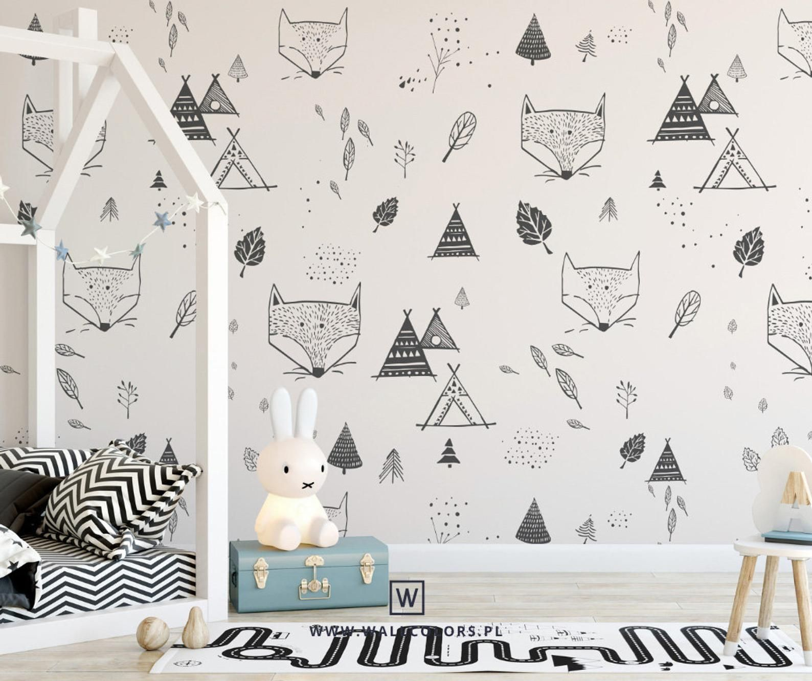 Kids wallpaper, self adhesive, foxes in the forest, fox