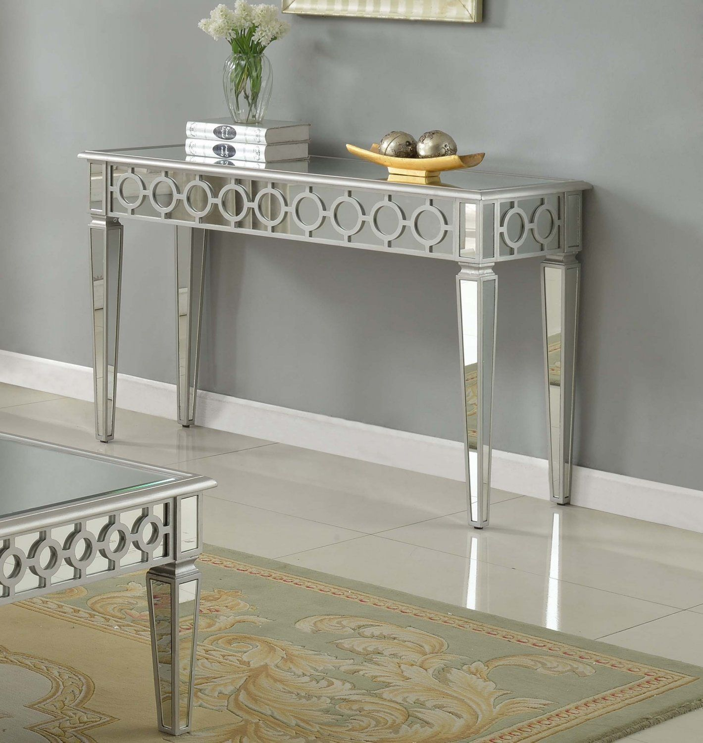 T1840 A Sophie Silver Mirrored Living Room Hallway Sofa Table