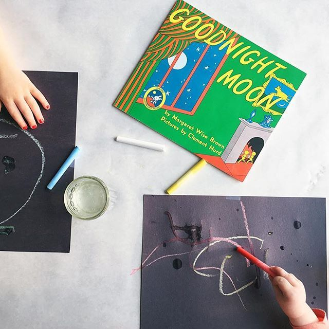 Today was a fun Invitation To Create with black paper and chalk + water. I gave them colors of chalk that were found within the book. Toddlers LOVE to see the difference between drawing with dry vs. wet chalk!