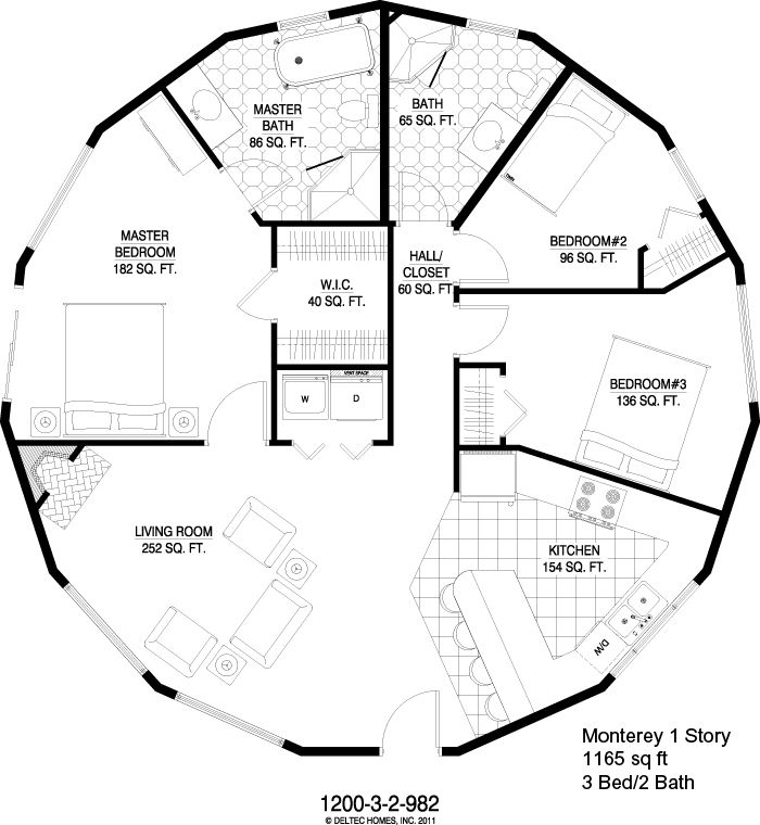 Deltec Homes Monterey 1 Story 1165 Sq Ft Round House Plans Dome House Cob House Plans
