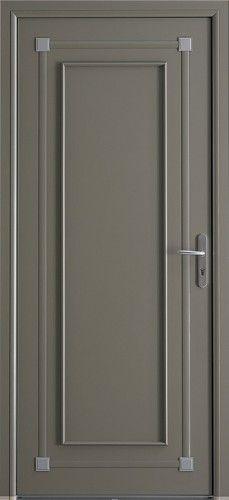Porte Aluminium Porte Entree Belm Classique Poignee Plaque Gris