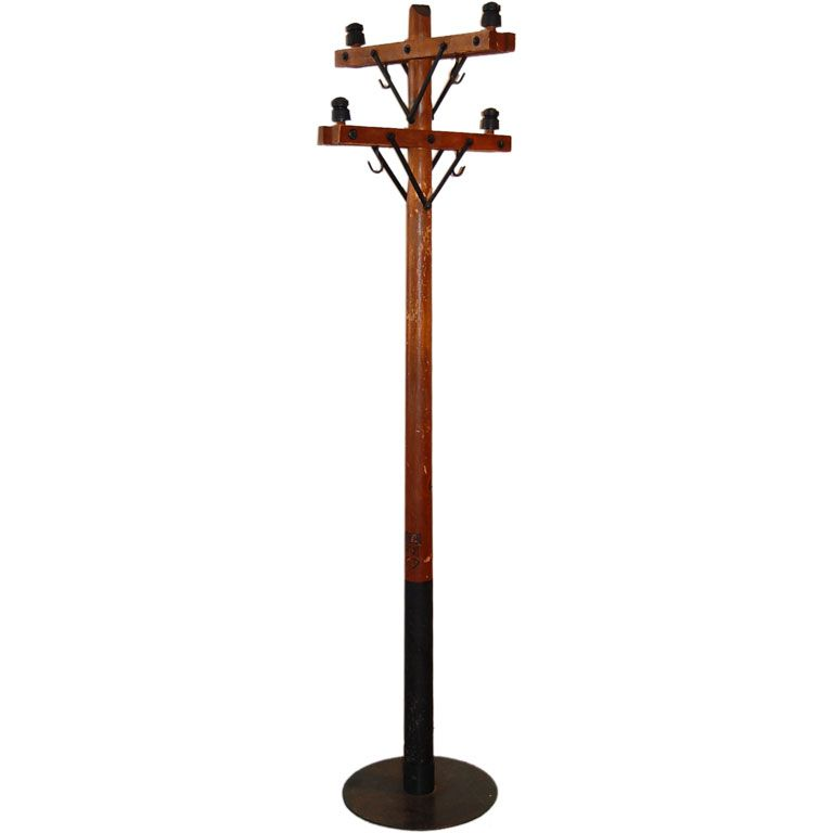 Telephone Pole Coat Rack | 1stdibs.com | Vintage coat rack, Coat