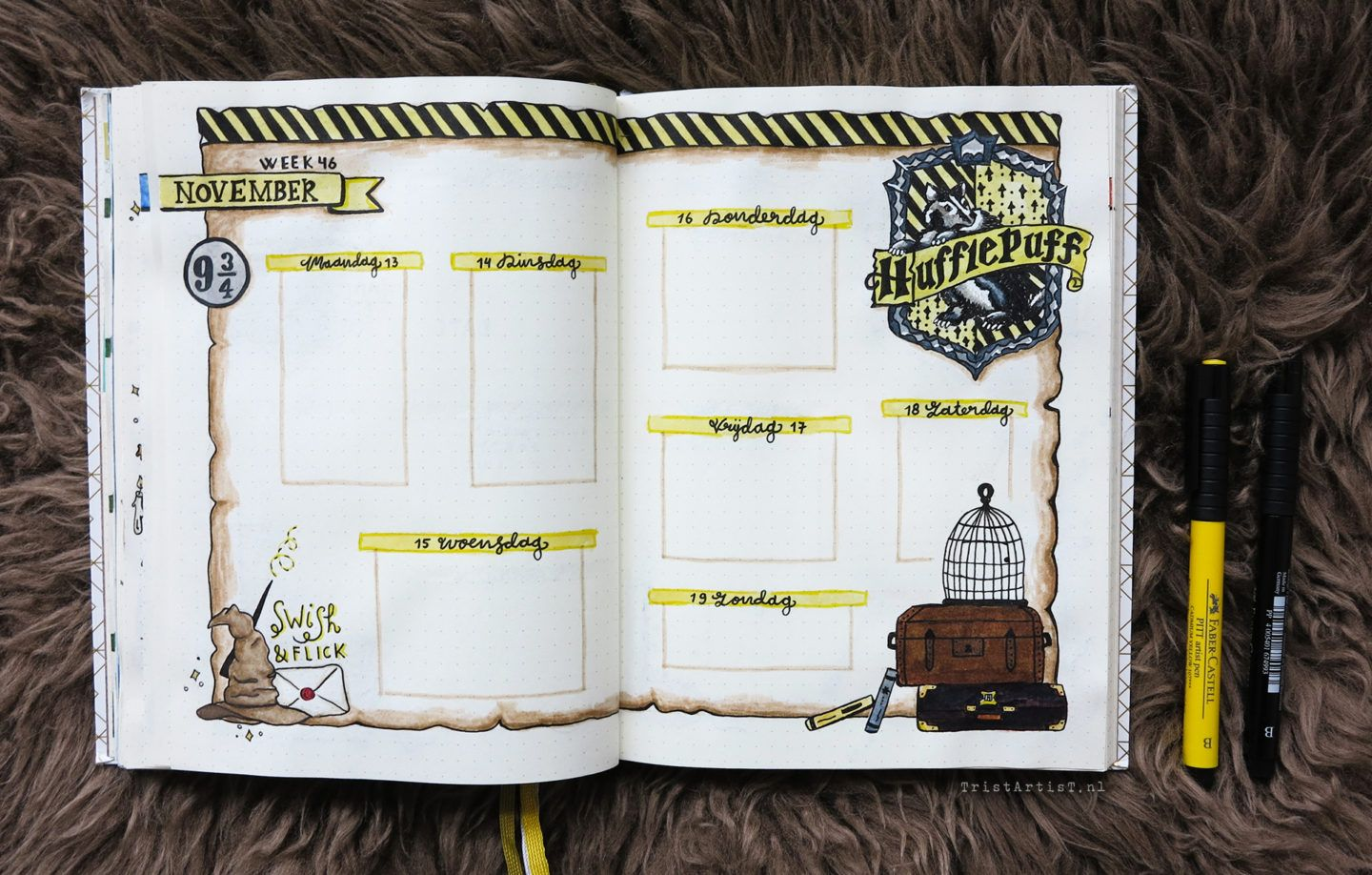 Bullet journal harry potter hufflepuff theme bullet journaling journal ideen tagebuch - Schulprojekte ideen ...
