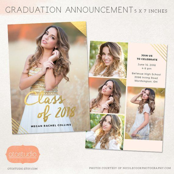 Senior Graduation Announcement Template For Photographers Psd Flat Card Gold Blush Cg027