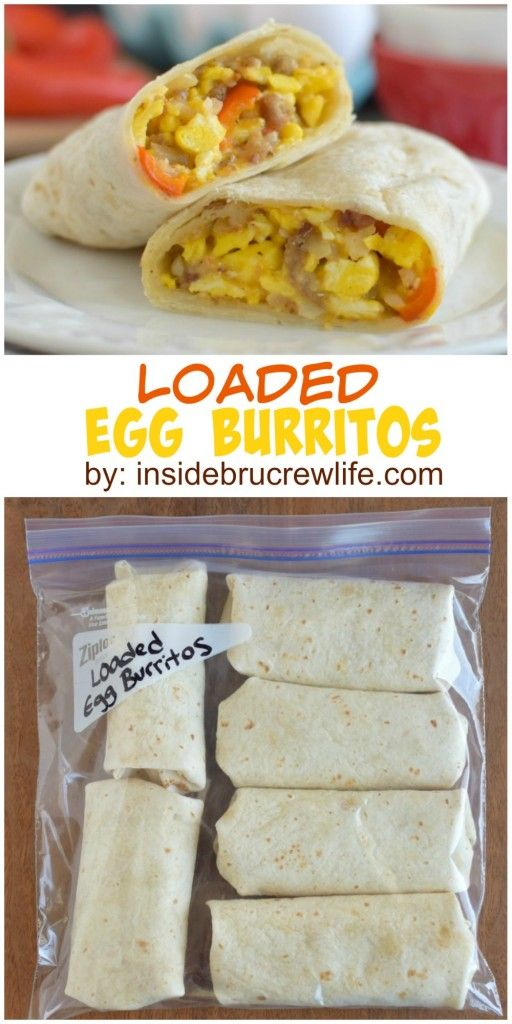 Loaded Egg Burritos: These scrambled egg burritos are loaded with meat, veggies, and cheese for a filling and easy breakfast.  Perfect freezer meal. #eggmeals