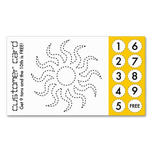 Tanning salon cut out punch cards | Business cards and Card templates