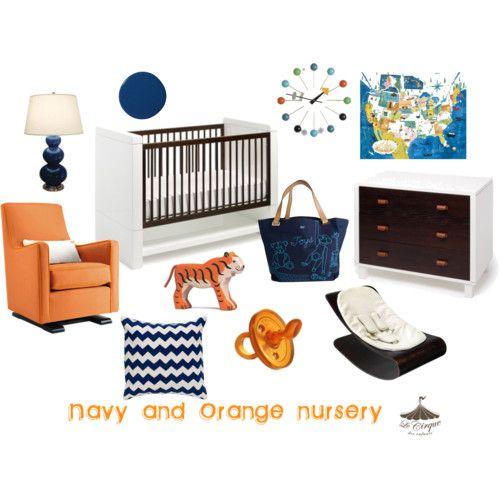 Orange and Navy scheme, kids room