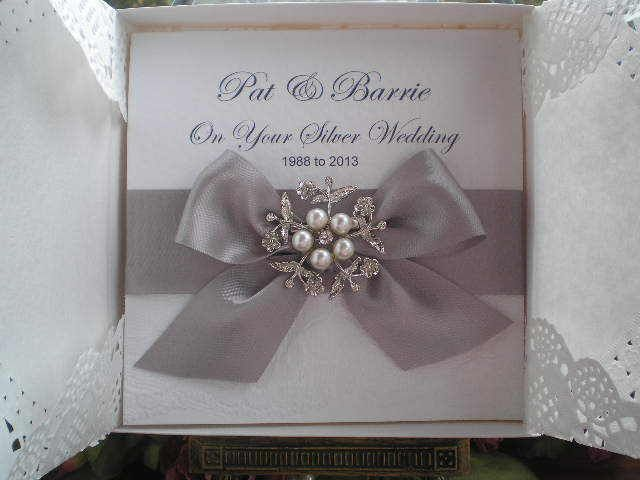 V0004 personalised boxed versailles lace silver wedding anniversary