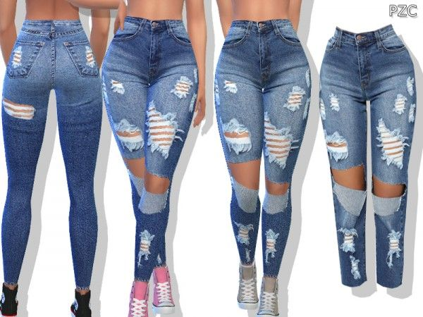 b0614d3a807 The Sims Resource: Medium Blue Denim Ripped Jeans by Pinkzombiecupcakes