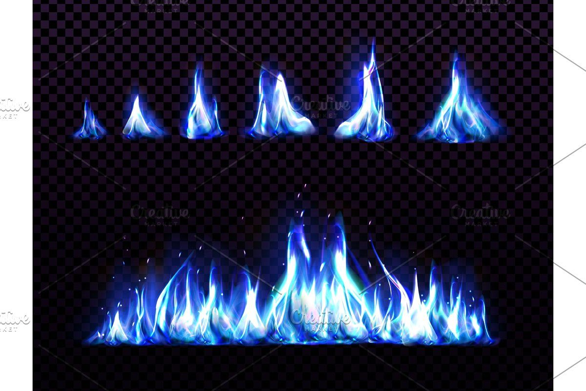 Realistic Blue Fire Set For Animation Icon Illustration Fire Vector