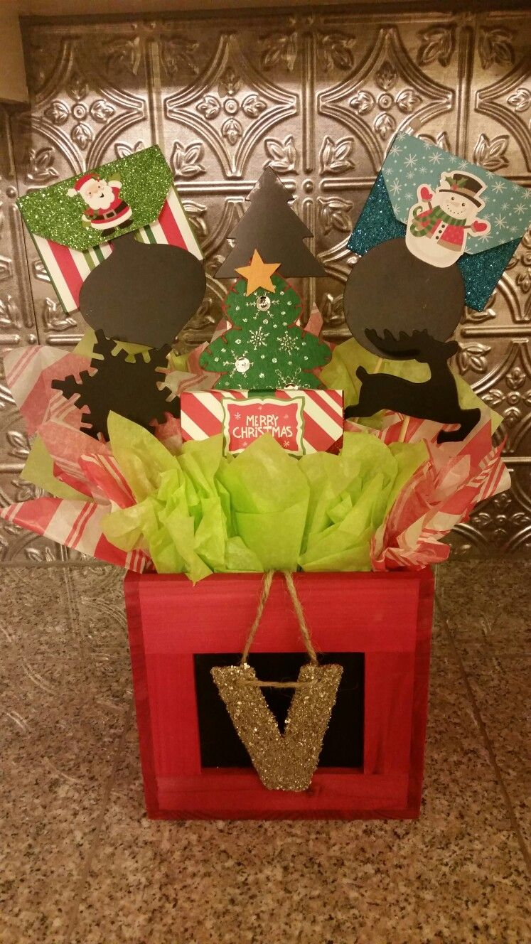 Xmas Giftcard Basket Teacher Christmas Gifts Gift Card Bouquet Teacher Holiday Gifts