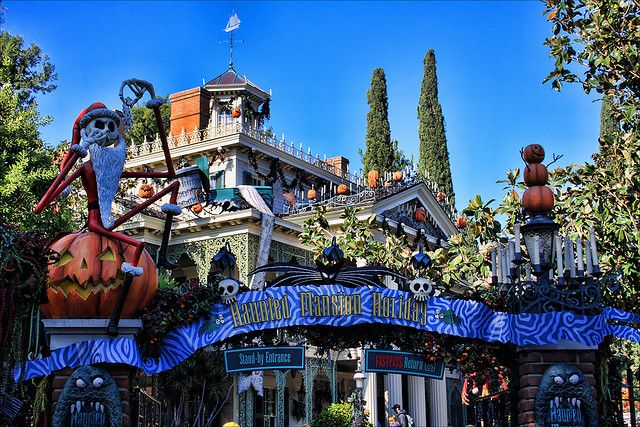 The Haunted Mansion in Disneyland decorated for the Nightmare Before