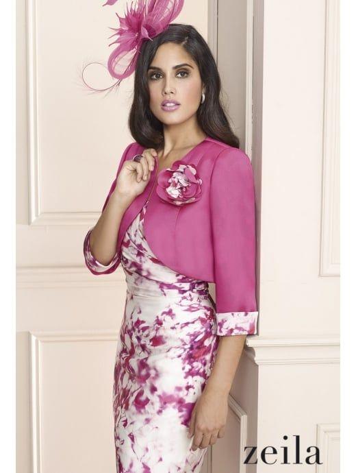 ZEILA Zeila 3020096 Lipstick Pink Print Dress And Bolero Fuxia