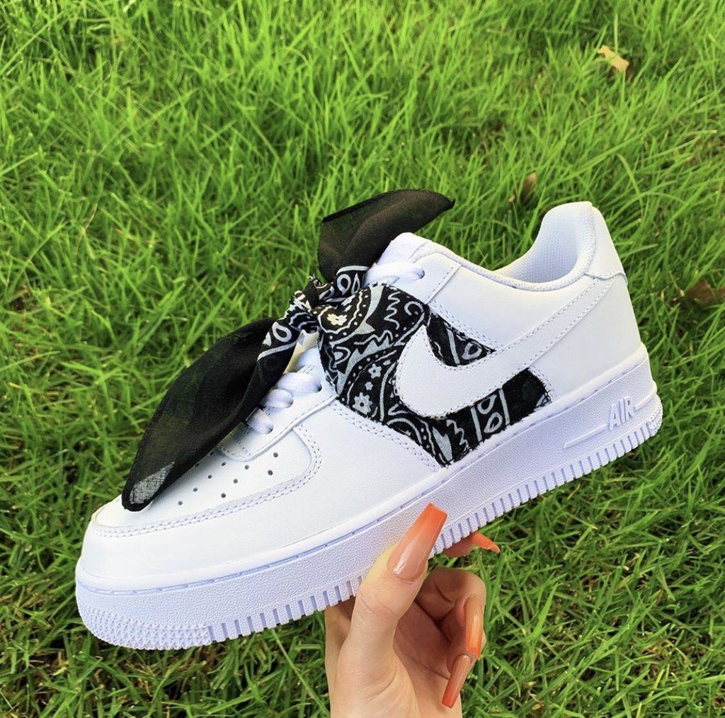 Custom Black Bandana AF1's Custom nike shoes, Nike shoes