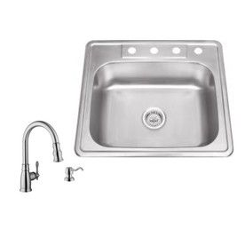 Superior Sinks 25 In X 22 In Brushed Satin 1 Stainless Steel Drop In 4 Hole Commercial Residential Kitchen Sink All In O Products Stainless Steel Kitchen