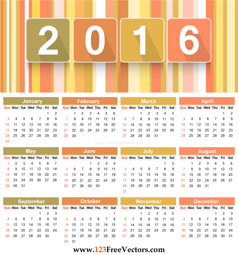 Free Download Colorful Calendar 2016 Printable Template Vector