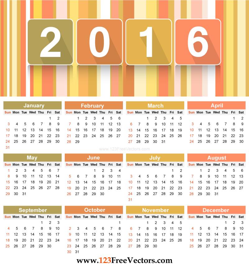 Free Download Printable 2016 Calendar Template Vector Clip Art Can