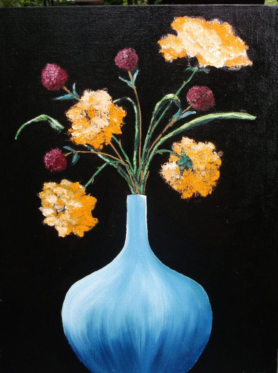 Yellow Rose and Blue Flower Still Life Oil Painting