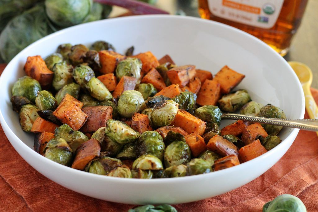 Maple Roasted Brussels Sprouts and Sweet Potatoes | Little Chef Big Appetite