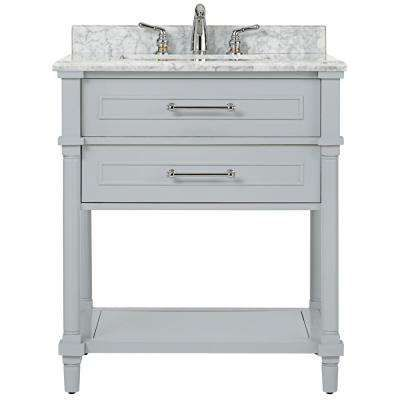 Aberdeen 30 In W Open Shelf Vanity In Dove Grey With Marble