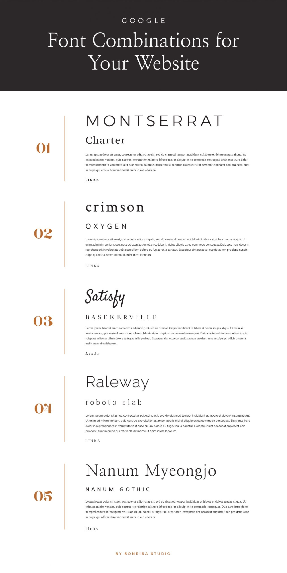 Google Font Pairings For Your Website Sonrisastudio Com In 2020 Google Font Pairings Font Pairing Font Combinations