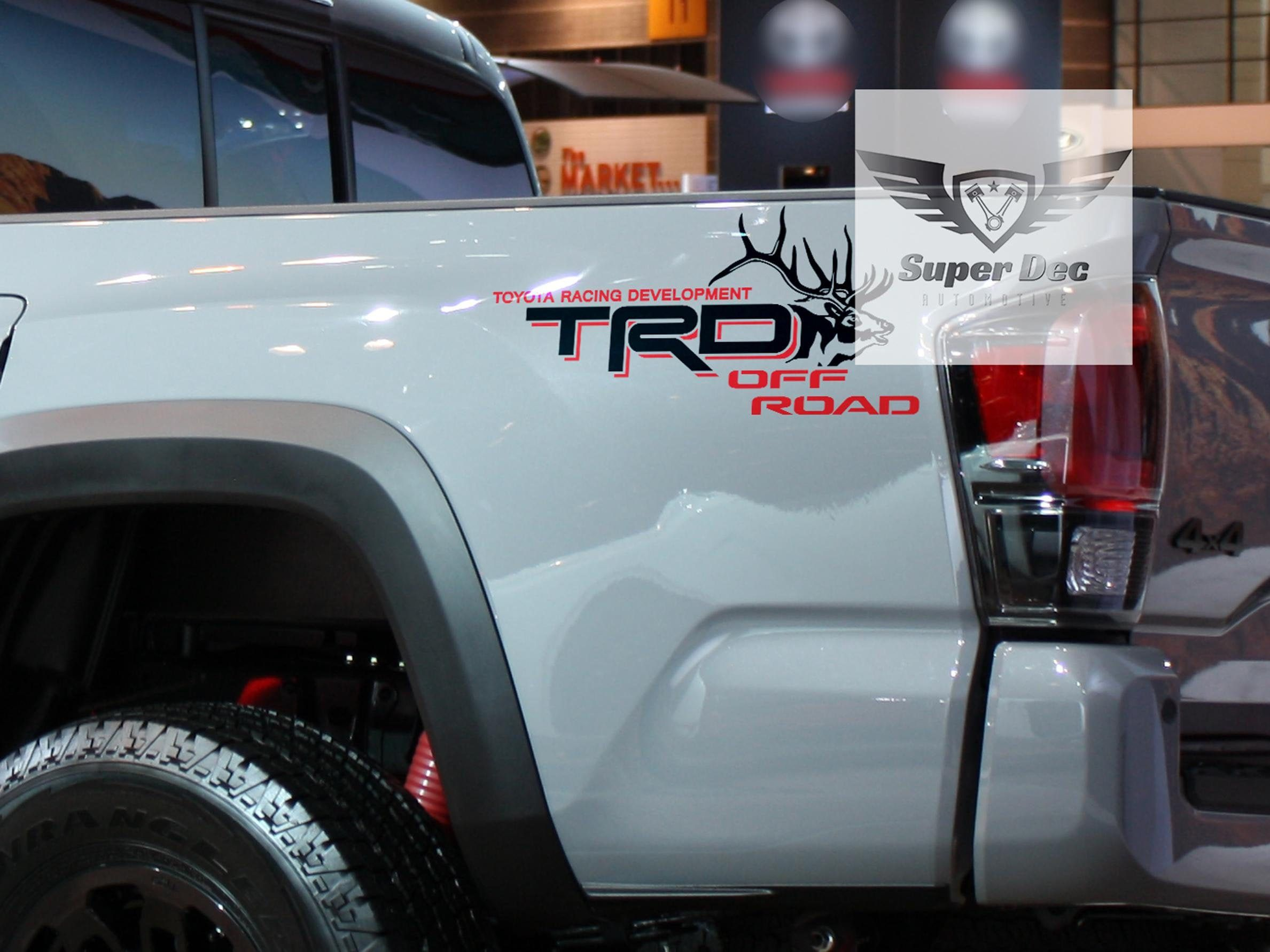 Toyota Tacoma//Tundra TRD Off-Road BEDSIDE DECAL Black//Red PAIR OF TWO BOTH SIDES