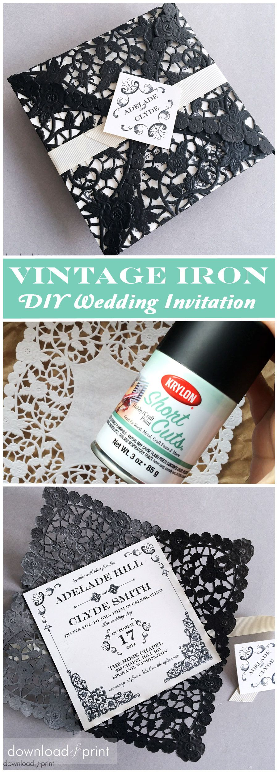 DIY Vintage Iron Wedding Invitation is part of Wedding invitations - Get the laser cut look without the laser cut price tag as I show you how to create stunning wedding invitations that mimic vintage wrought iron