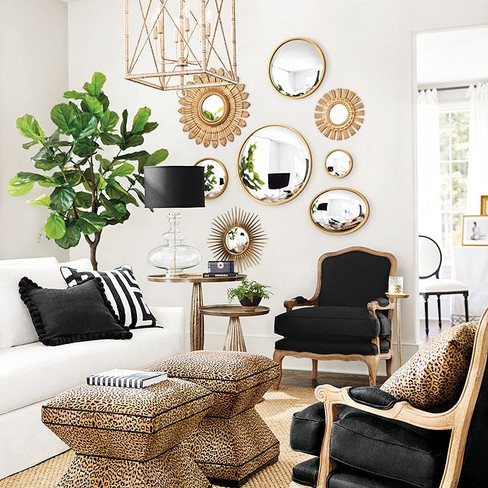 Ava Convex Mirror With Images Gold Living Room Living Room Green Black And White Living Room