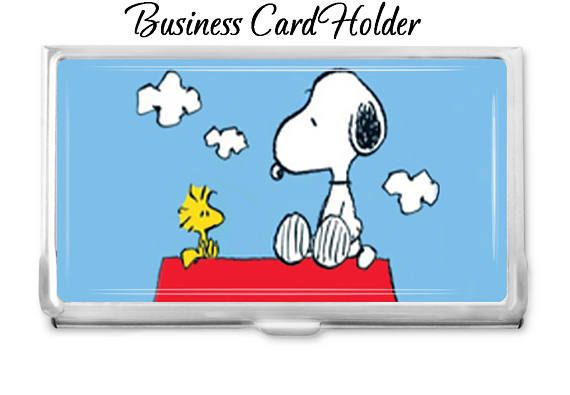 Elegant Snoopy Business Card Holder   You Can Choose A Message   Card Case    Business Card Case   Gift Idea   Office Supplies   Credit Card Holder