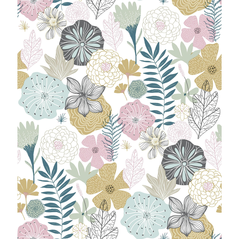 Roommates Perennial Blooms Peel And Stick Wallpaper Walmart Com Peelable Wallpaper Peel And Stick Wallpaper Vinyl Wallpaper